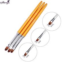 Monja, 3 шт., для дизайна ногтей, с металлической ручкой, акриловый УФ-гель для наращивания, для создания лепестков, цветов, рисования, кисти для рисования, маникюрные инструменты