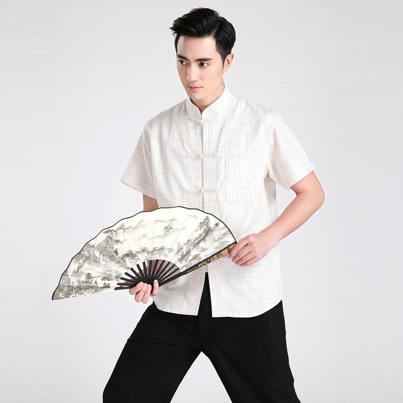 257887f86f Novelty Striped Chinese Men s Kung Fu Shirt Summer Hot Sale Cotton Linen  Casual Wu Shu Clothing S M L XL XXL XXXL 2602-in Casual Shirts from Men s  Clothing ...