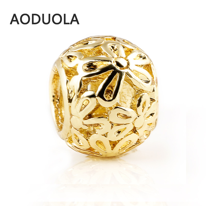 10 Pcs a Lot Gold Alloy Beads Flower Shape DIY Big Hole Metal Beads Spacer Murano Bead Charm Fit For Pandora Charms Bracelet