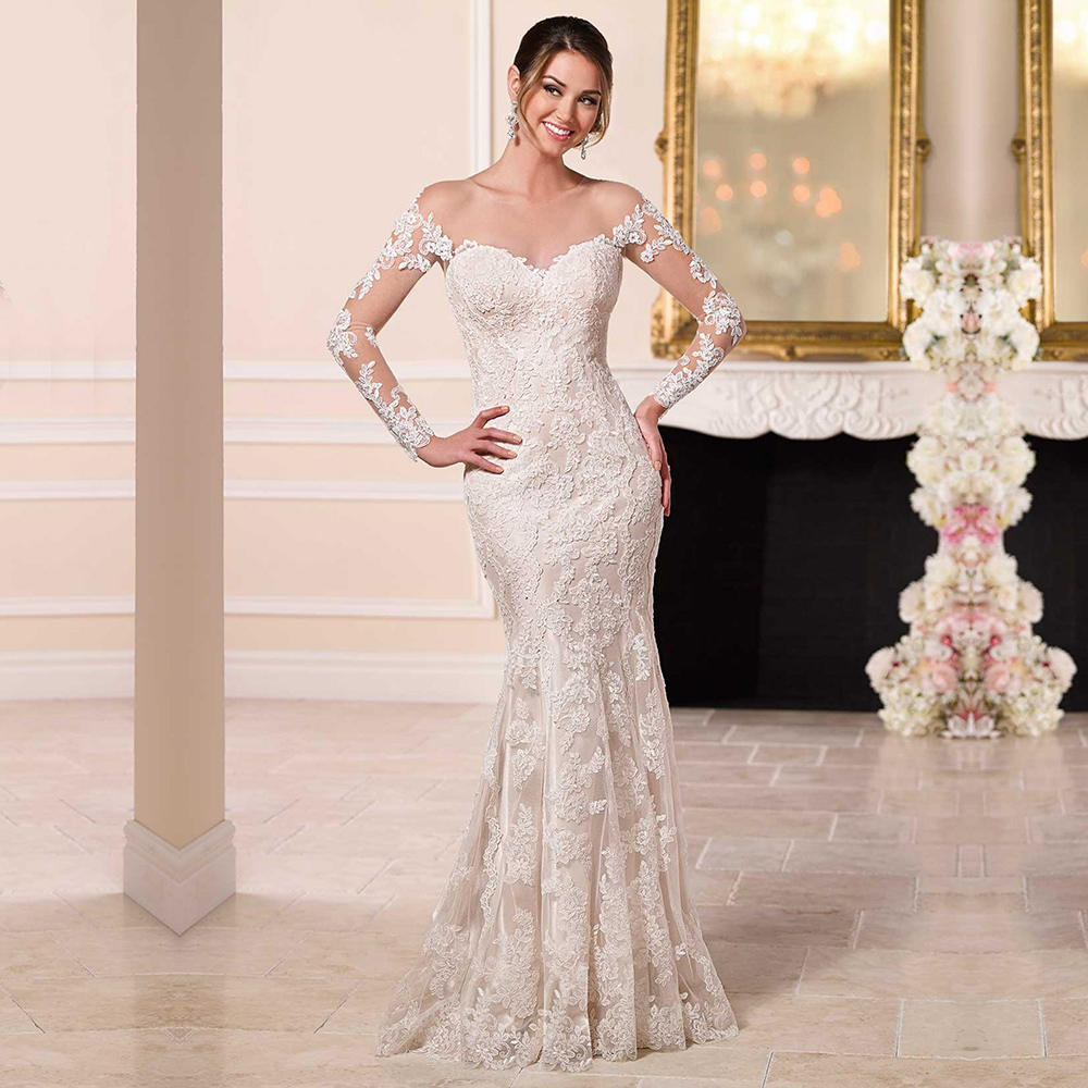 Mermaid Wedding Dresses With Sleeves: Mermaid Off Shoulder See Through White Sexy Backless
