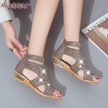 ALL YIXIE 2019 Summer New Fashion Womens Shoes Sandals Fish Mouth Roman Ladies Crystal Hollow Open Toe Casual Flat Sandal