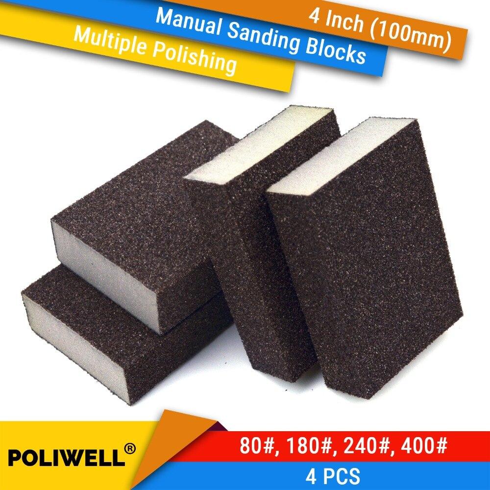 4PCS Manual Sanding Sponge Sheet Kitchen Bathroom Polishing Grinding Abrasive Sponge Block Dry/Wet Sanding Washable Reusable Kit