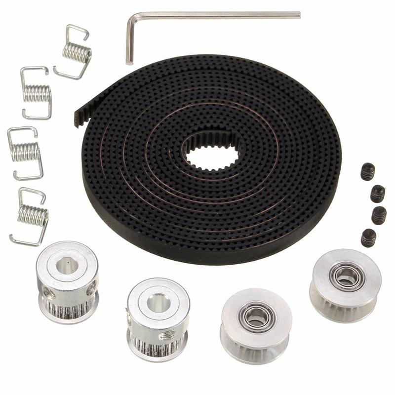цена на HOT 2X GT2 Pulley 20 Teeth Bore 5mm + 8ft 2.5m 2GT GT2 Timing Belt & 2X Idler 4X Tensioner for 3D printer RepRap