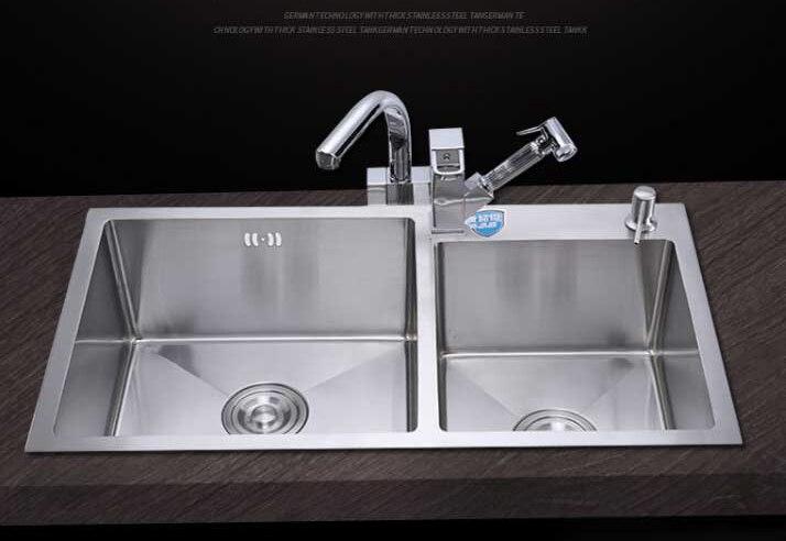 Superieur ITAS9914 Kitchen Sinks Stainless Steel Double Bowl Above Counter Undermount  Kitchen Wash Basin Hand Sink Size 78*42cm