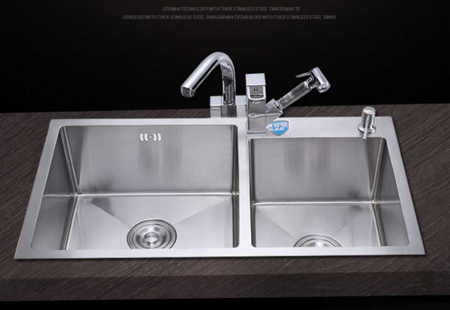 Itas9914 Kitchen Sinks Stainless Steel Double Bowl Above Counter Undermount Wash Basin Hand Sink Size
