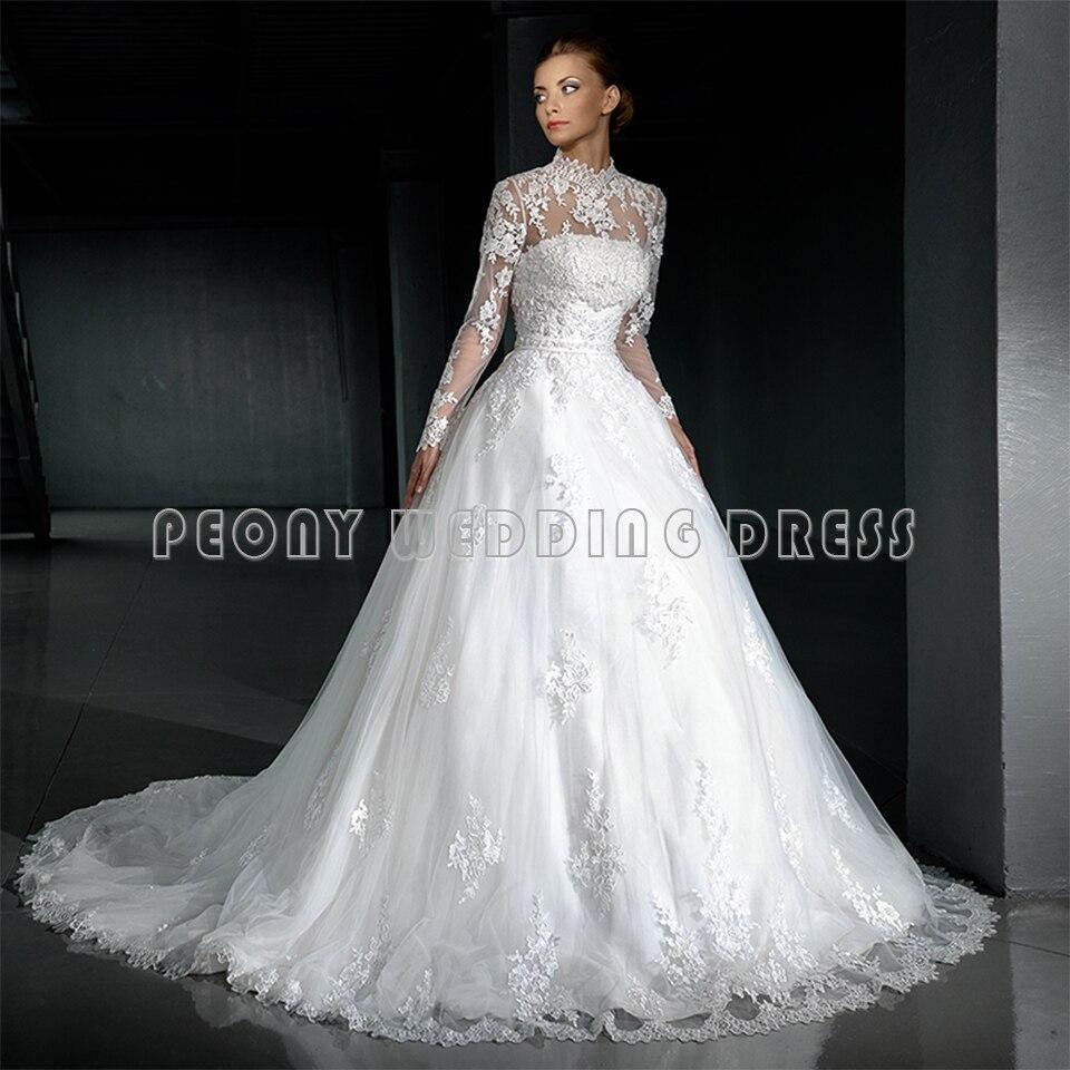 White Wedding Dress Jacket: Vintage Beaded Lace White Wedding Dress 2016 High Neck
