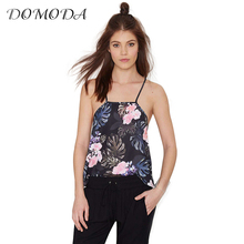 DOMODA Apparel Chic Floral Print Sleeveless Tank Women Cute Lace Up Ruffles Summer Top Sexy Backless Tank Female