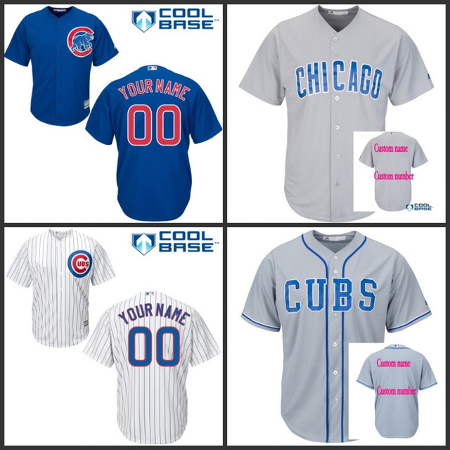 Custom Chicago Cubs Baseball Jerseys cheap authentic Youth Kids  Personalized Stitched cool base Jersey shirt Grey White Blue 9ed4df351