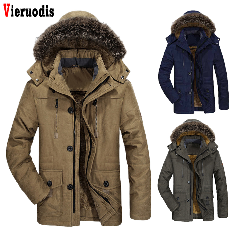 Male Winter Casual Jacket Windbreaker 5XL 6XL Men   Parka   Hooded Fleece Fur Collar Long Men Jacket Cotton Padded Warm Coat