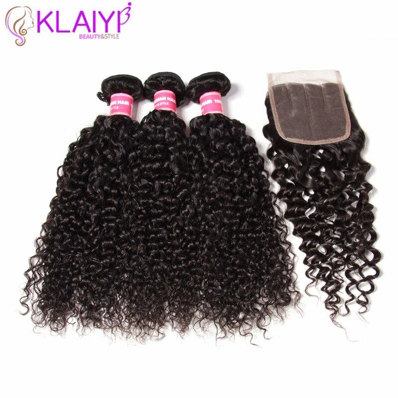 Klaiyi Hair Brazilian Kinky Curly Hair 3 Bundles With Closure 4Pcs/Lot Remy Hair Weave Human Hair Bundles With Closure