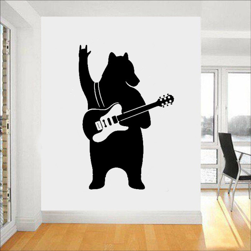Bear with Guitar Wall Decals Vinyl Sticker Music Art Decor Funny Home Interior Housewares Room Office Design Mural L228