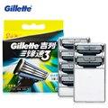 Подлинная Gillette Mach 3 для Бритья Лезвия для Мужчин Ручной Три Слоя Лезвия Бритвы (6 Бит)