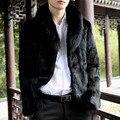 Большой Искусственный Мех Лисы Воротник Мужской Искусственного Меха Пальто Вскользь плюс Размер 3XL Теплый Толстый Искусственный Мех Куртки Черный Верхняя Одежда AYR10