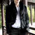 Large Faux Fox Fur Collar Male Faux Fur Coat Casual Plus Size 3XL Warm Thick Faux Fur Jackets Black Outerwear AYR10
