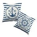 Mar azul leme impresso capa de almofada padrão âncora marinha Cottom caso jogar travesseiro ano novo fronha decorativa
