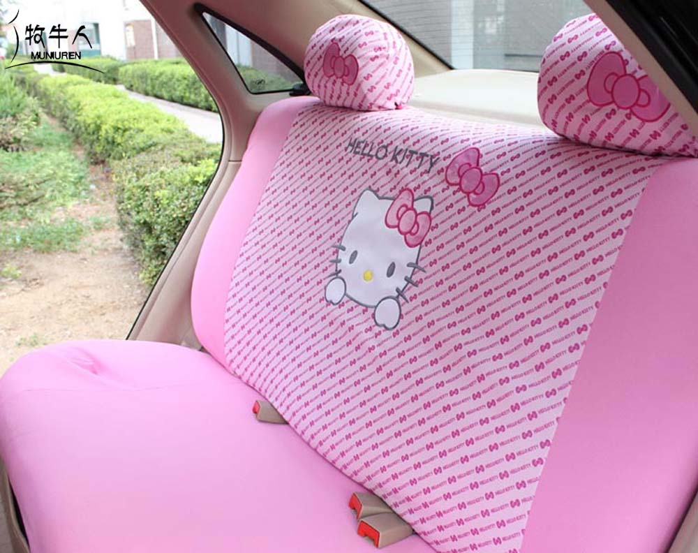 MUNIUREN Cute Pink Hello Kitty Car Rear Back Seat Cover Polyester Polka Dot Universal Seat Protective interior Accessories стоимость