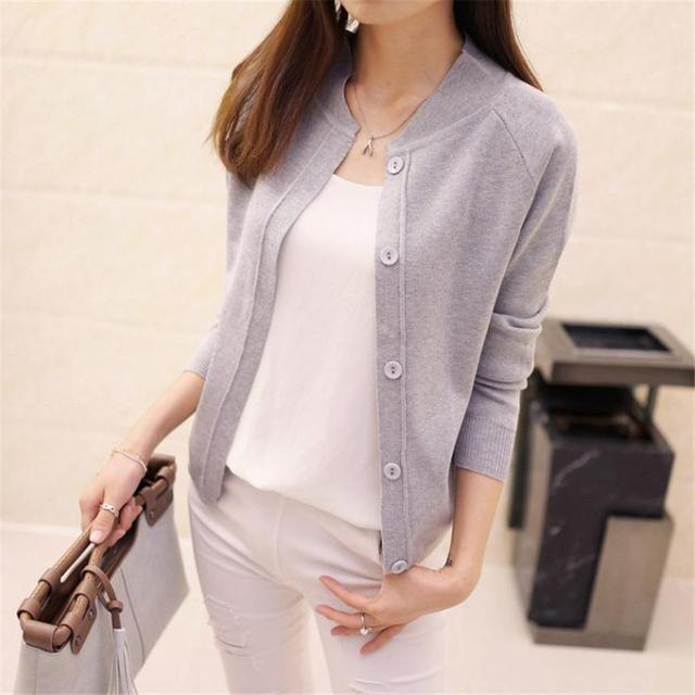 Mulheres outono cardigans cor sólida fina outerwear feminino Com Decote Em V Malha camisola projeto longo-manga curta pequena capa tamanho plue