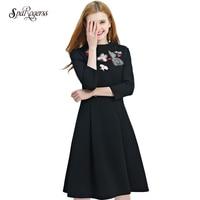 SpaRogerss Bayan Zarif Vintage 2018 Yeni Bahar Tunik Pinup Iş Ofisi Rahat Parti Bir Çizgi Patenci Elbise Giymek Q1782