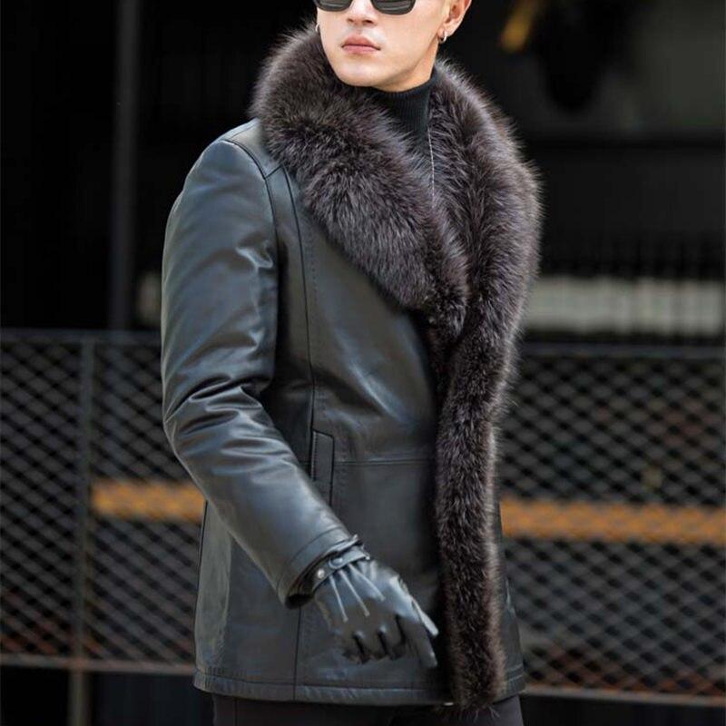 Masculino Gola de Pele De Guaxinim Longo Pele Uma Jaqueta Grande dos homens de Couro De Pele Quente Plus Size 5XL Inverno Real da pele de Ovelha casaco de couro MZ3267