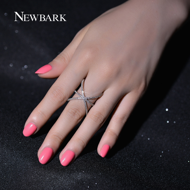 NEWBARK Trendy Silver Color Ring X Shape Cross Rings with Micro