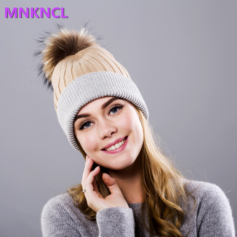 Hot Selling  Mink and Fox Fur Bball Cap Pom Poms Winter Hat For Women Girl 's Hat Knitted Beanies Cap Brand New Thick Female Cap new star spring cotton baby hat for 6 months 2 years with fluffy raccoon fox fur pom poms touca kids caps for boys and girls