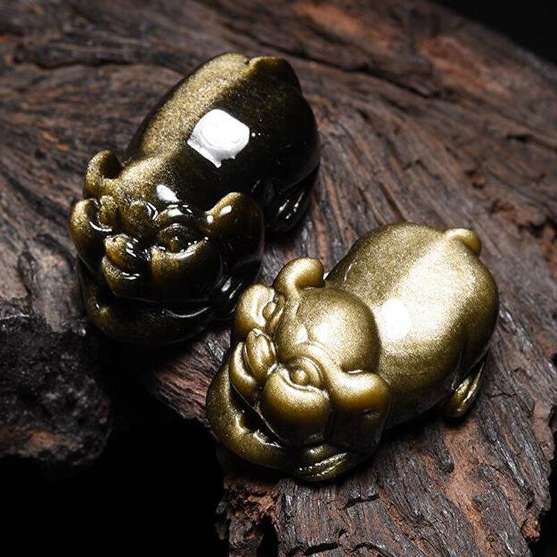 2019 Neue Natürliche Obsidian Gold Schwein Anhänger Männlichen Und Weiblichen Sternzeichen Glück Glück Obsidian Halskette Anhänger Schmuck Geschenk