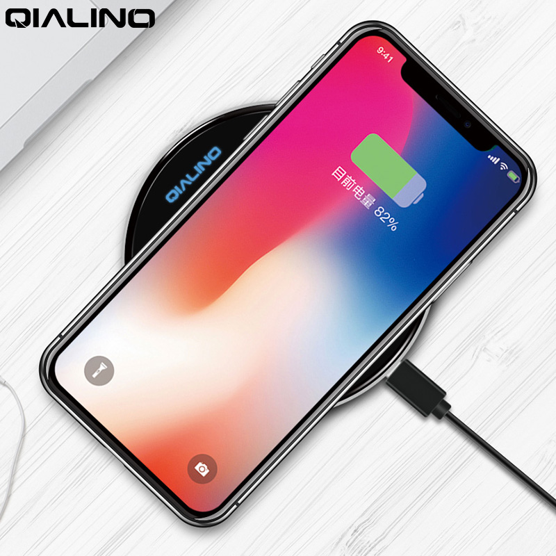 QIALINO Qi Wireless Charger for iPhone X/8 8 Plus Ultrathin Fast Wireless Charging Pad for Samsung Galaxy S8/S7/S8 Plus/S7 Edge