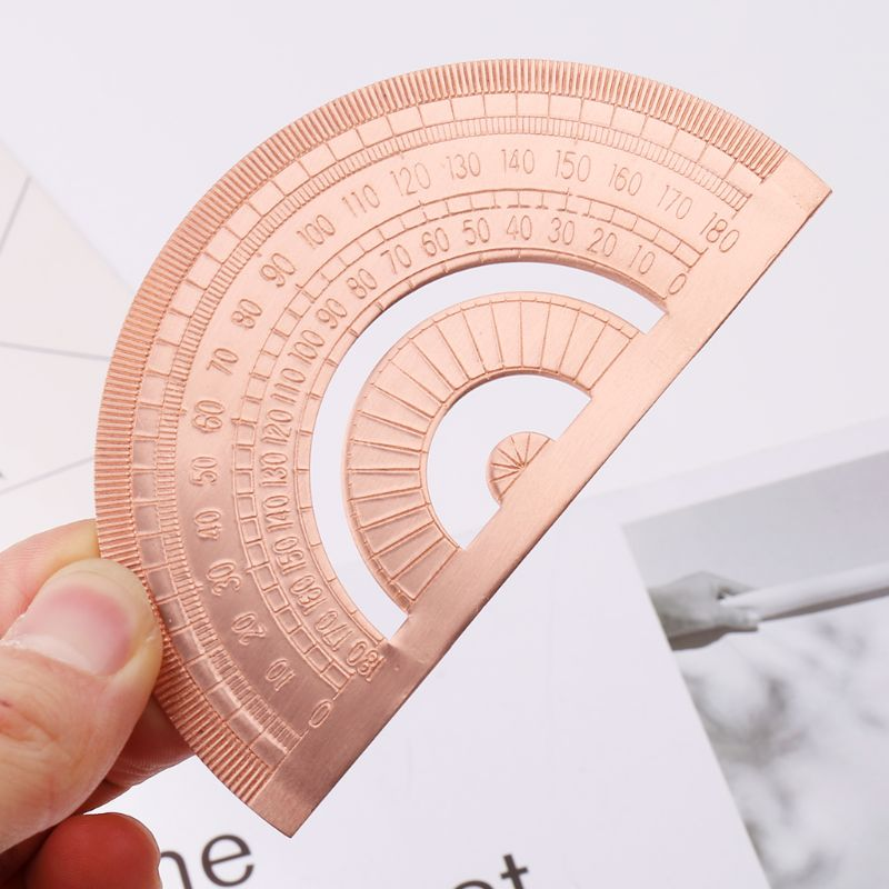 Retro Copper Protractor Ruler Semicircle Drawing Measurement Math Geometry Tool For Students Stationery