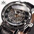 Montre homme sewor marca de luxo esqueleto preto relógio mecânico mens relógios vestido relogio masculino relógios de pulso de couro dos homens