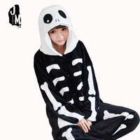 Funny Pajamas Adults Cartoon Skeleton Cosplay Lovers Jumpsuit Sleepwear Onesie Winter Warm Flannel Womens Pajamas Pijama