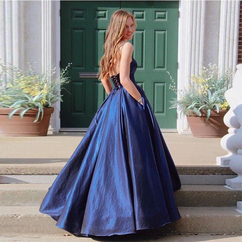Sweetheart Long Prom Dress Dark Navy Taffeta Simple Women Formal Party Dress Cheap Vestido De Fiesta De Graduacion Lace Up Back
