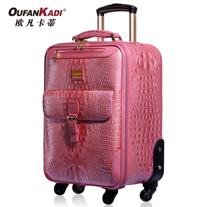 Fashion crocodile pattern leather suitcase luggage bag universal wheels trolley travel female 20 24  -  Volvo Co., Ltd. Shenzhen store