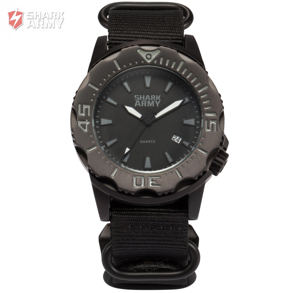 SHARK ARMY Full Steel 100m Waterproof Date Display Black Nylon Band Luminous Hands Reloj Military Sport Quartz Men Watch /SAW193