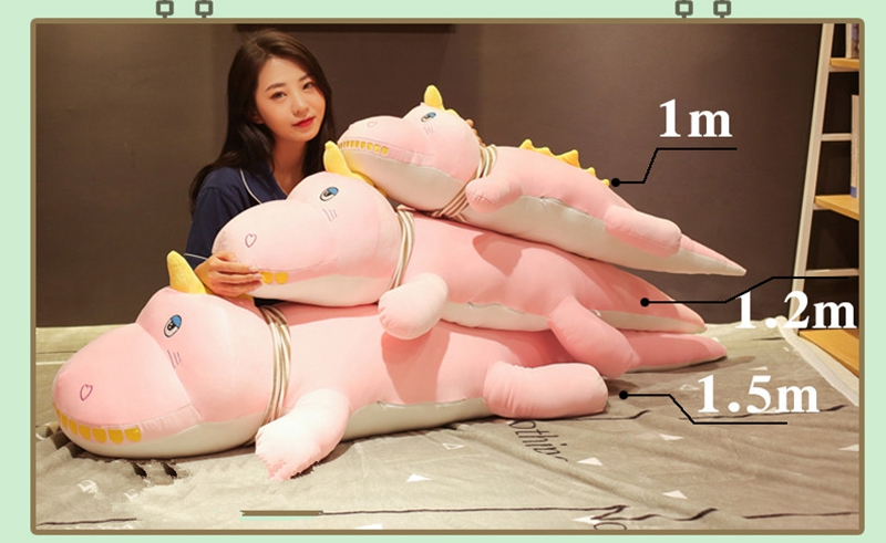 Dorimytrader kawaii crocodile plush toy doll giant animal alligator sleeping cushion bed pillow girl cute birthday gift 120cm 150cm DY50545 (17)