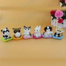 6pcs/set Simulation Cats Squirrel Fox Owl Gogs Rabbit Animal Plush Toy Children Room Decoration Appease Doll Gift