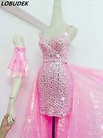 Бар ночной клуб для женщин розовый пряжа Хвост Блеск Стразы ремень платье Женский для певицы для сцены наряд Клубная одежда танцевальное шо