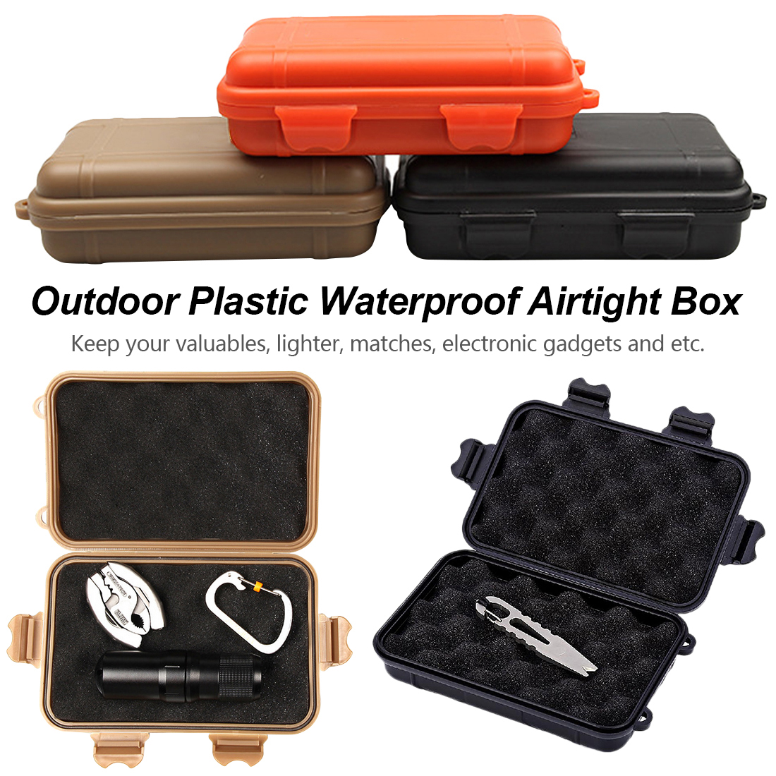 Outdoor Shockproof Protection Waterproof Boxes Tool Box Matches Case Holder For Storage Tools Travel Sealed Container