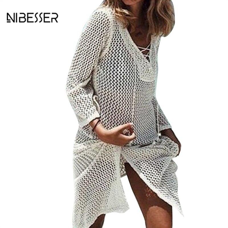 NIBESSER Soild V-neck Hollow Out Mini Beach Dress Sexy Crochet Knitted Sweater Beach Dress Women Fashion Women Summer Clothing