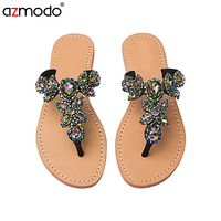 Women's Crystal Sandals HAND CRAFTED PU Party & Evening Dress Flat Heel Rhinestone Flower Black
