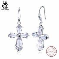 ORSA JEWELS Women Earrings Long 925 Genuine Sterling Silver Luxury Cross AAA CZ Engagement Wedding Female