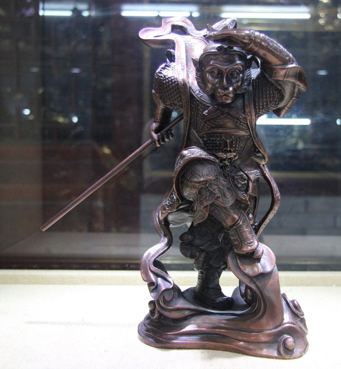 Chinese Bronze Great Sage Equalling Heaven Sun Wukong Monkey King Patung Buddha Happy Natural Sandstone Brazil 8189ct Free Shipping China Copper Famous Journey To The West Sunwukong Statue