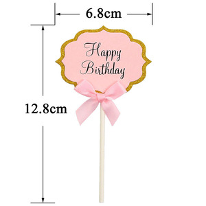 Image 5 - 10pcs Happy Birthday Cupcake Topper 1st Birthday Party Decorations Baby Girl First Birthday Boy Party My One Year Supplies