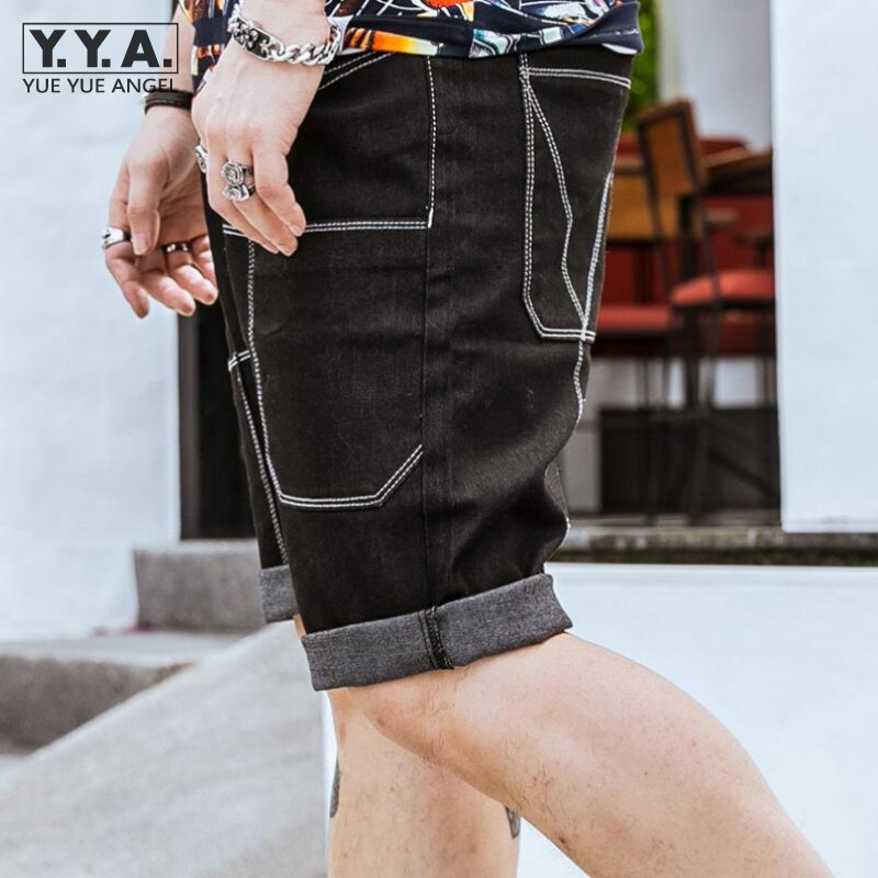 Summer Black Demin Short Jeans For Men Fashion Casual Shorts Knee Length Straight Trousers Plus Size 36-46 Loose Streetwear