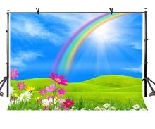 7x5ft Beautiful Rainbow Backdrop Prairie Green Photographic Background and Studio Photography Props