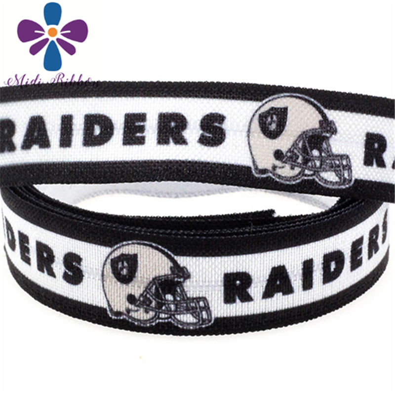 "MD150917-25-2169 Sports Series 5/8"" 16mm 50 Yards Raiders Printed Elastic Ribbon Football Team Clothing Supplies DIY"