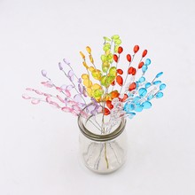 10 pcs de Casamento Artesanal De Cristal Gota de Água Acrílico Haste Da Flor Artificial Decoração Do Natal Coroa de Flores DIY Ovelhas Artesanato Flor