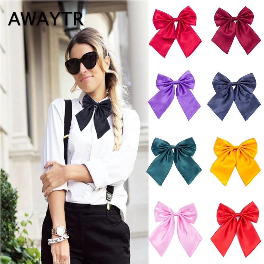 AWAYTR 1 Pcs Women Cravat Red Black Butterfly Women's Bow Tie Female Girl Student Hotel Clerk Waitress Neck Wear Silk Ties