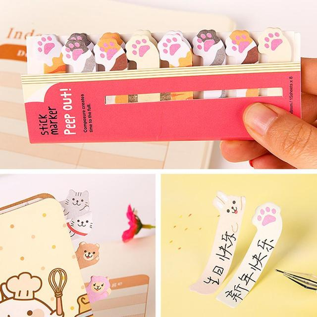 Kawaii Memo Pad Bookmarks Creative Cute Animal Sticky Notes Index Posted It Planner Stationery School Supplies Paper Stickers 3