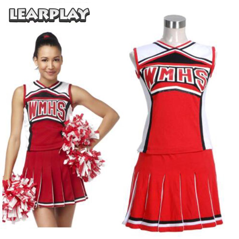 Glee Santana Lopez Cheering Squad Red Dress Costumes School Uniform for Girls
