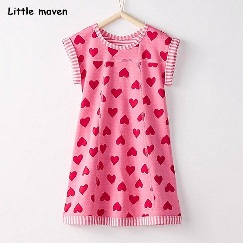 Little maven/Новая модель 2018 года; летняя для маленьких девочек Брендовое платье Дети Хлопок Сердце печати с коротким рукавом платья S0320